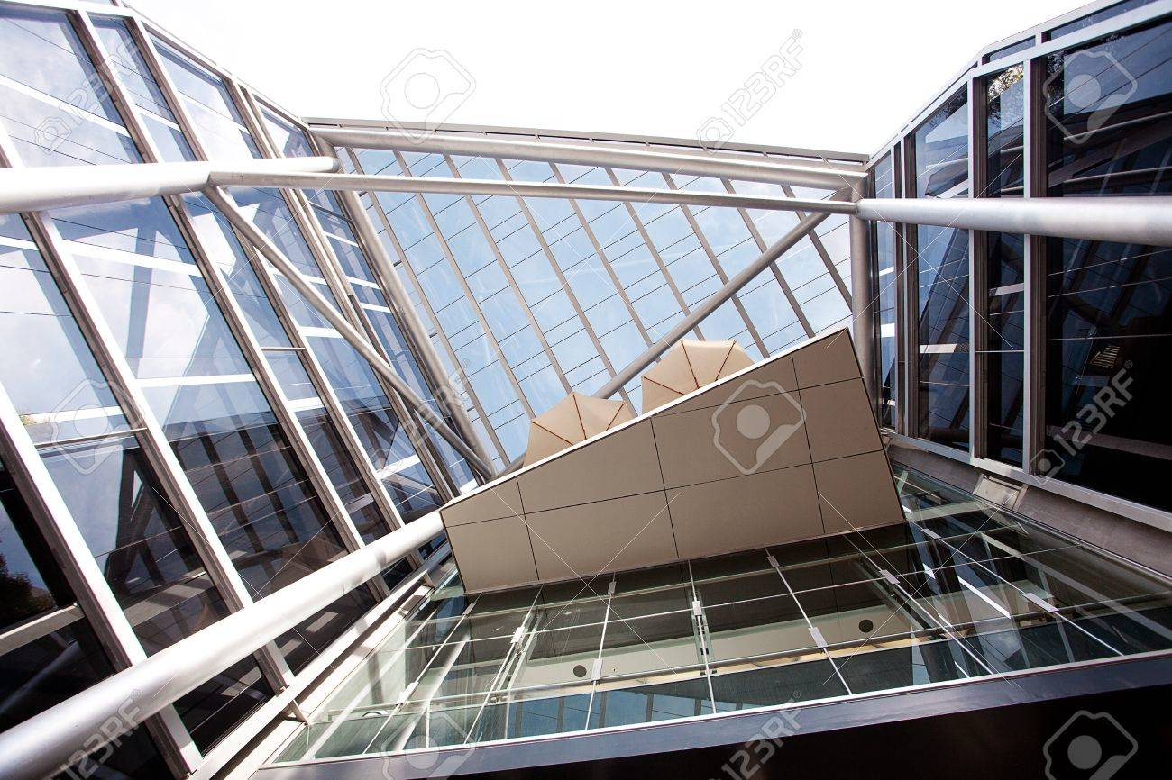 Hightech Exterior Of A Modern Office Building Stock Photo