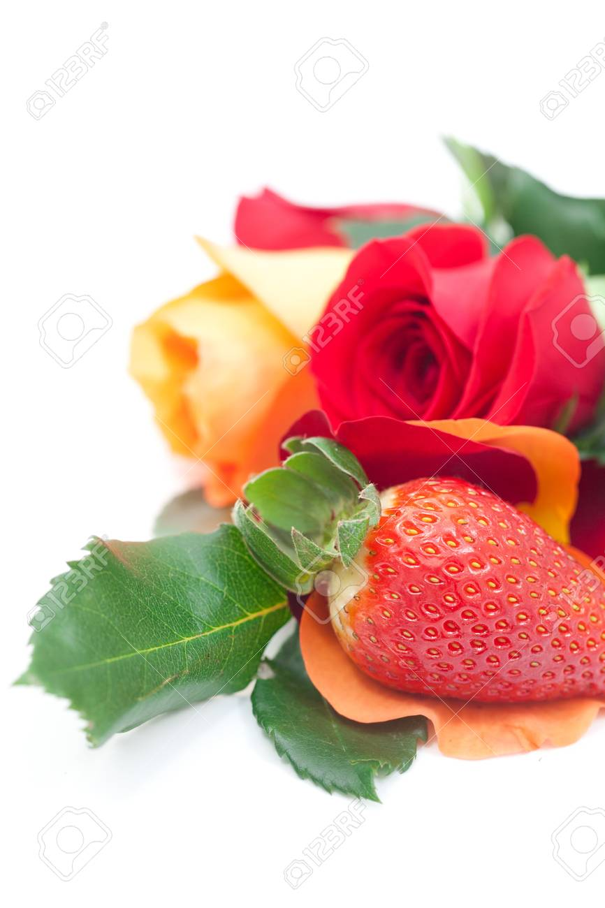 Bouquet Of Colorful Roses And Strawberry Isolated On White Stock ...