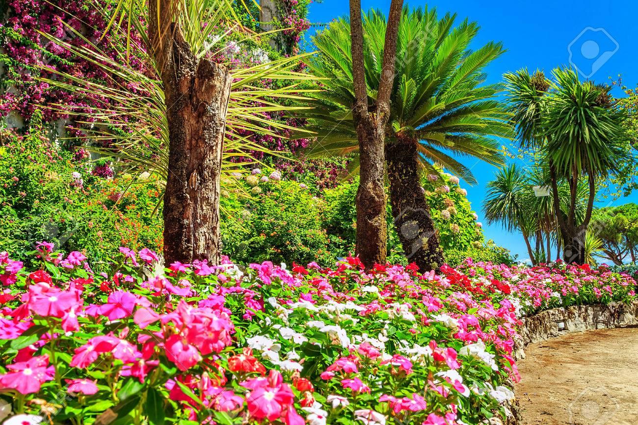 Fleurs colorées et palmiers dans le jardin d\'ornement, Villa Rufolo  Ravello, Côte amalfitaine, Italie, Europe