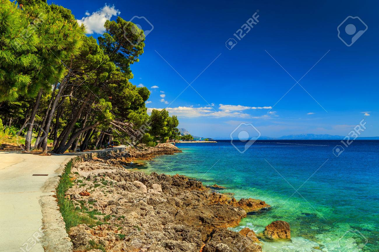 Schone Blaue Lagune Am Strand Und Grunen Wald Brela Makarska