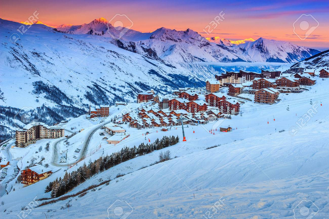 majestic winter sunrise landscape and ski resort with typical