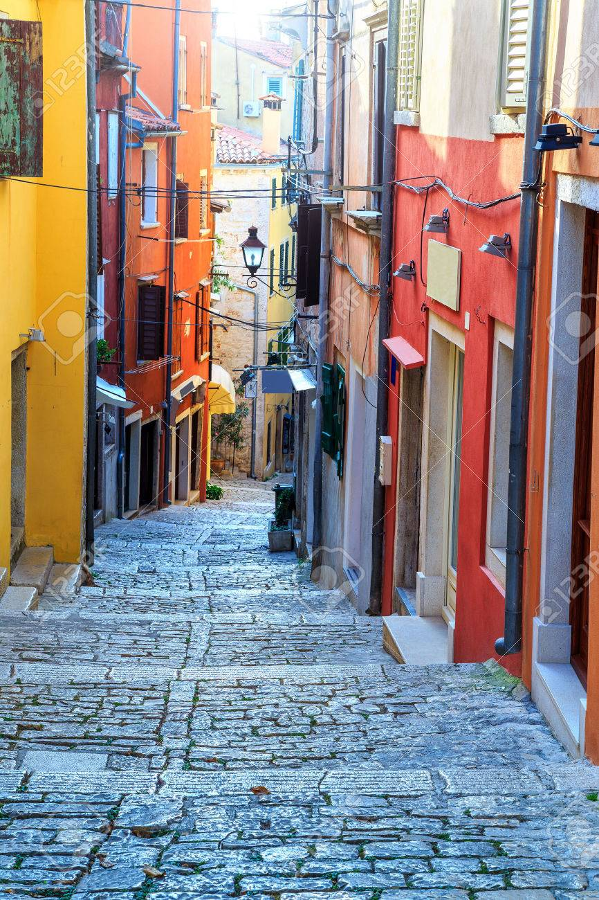 Stunning Stone Paved Street With Colorful Houses,Rovinj Old Town ...