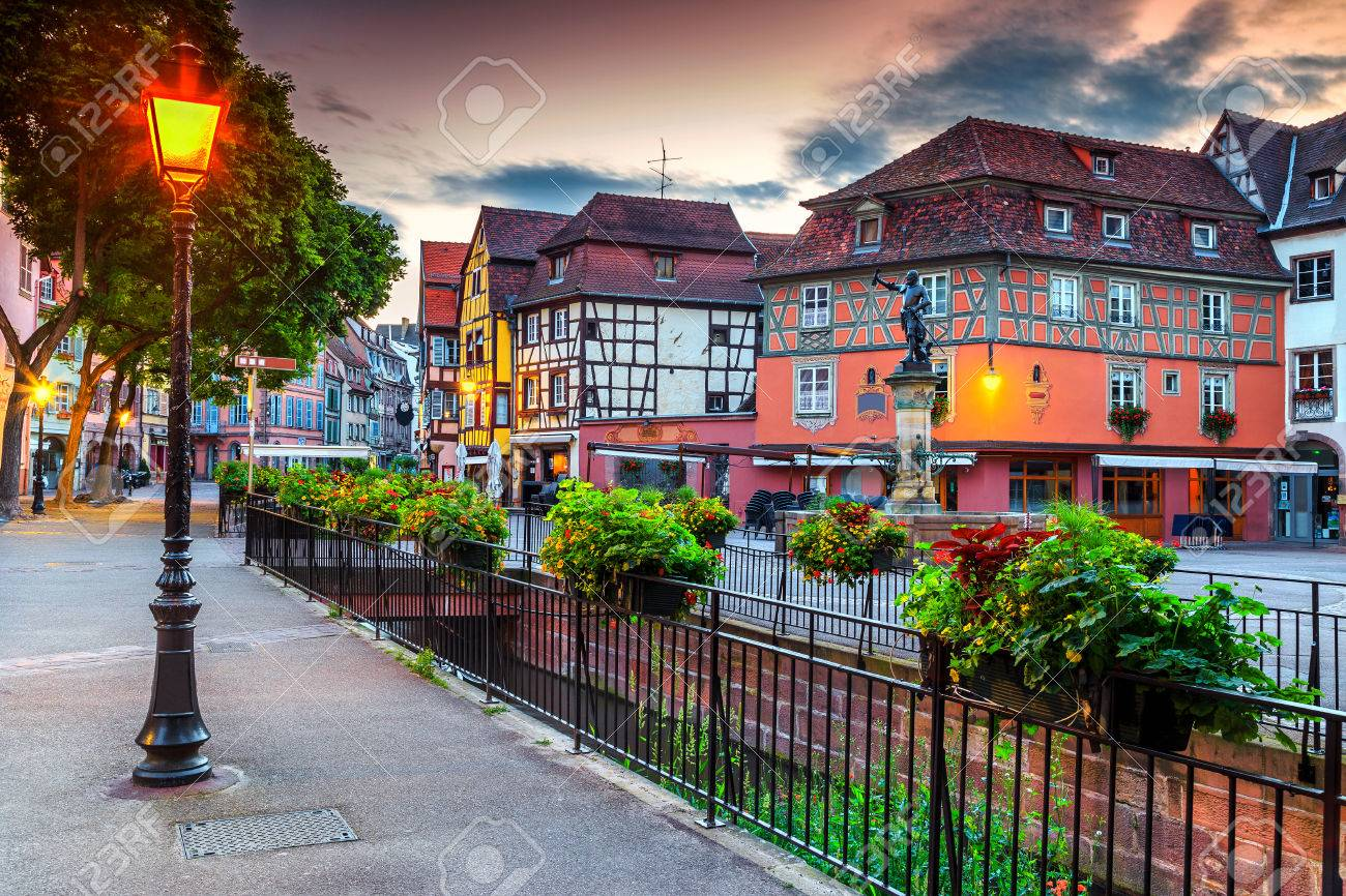 Spectacular Colorful Traditional French Houses And Decorated Street With Beautiful FlowersColmarFrance