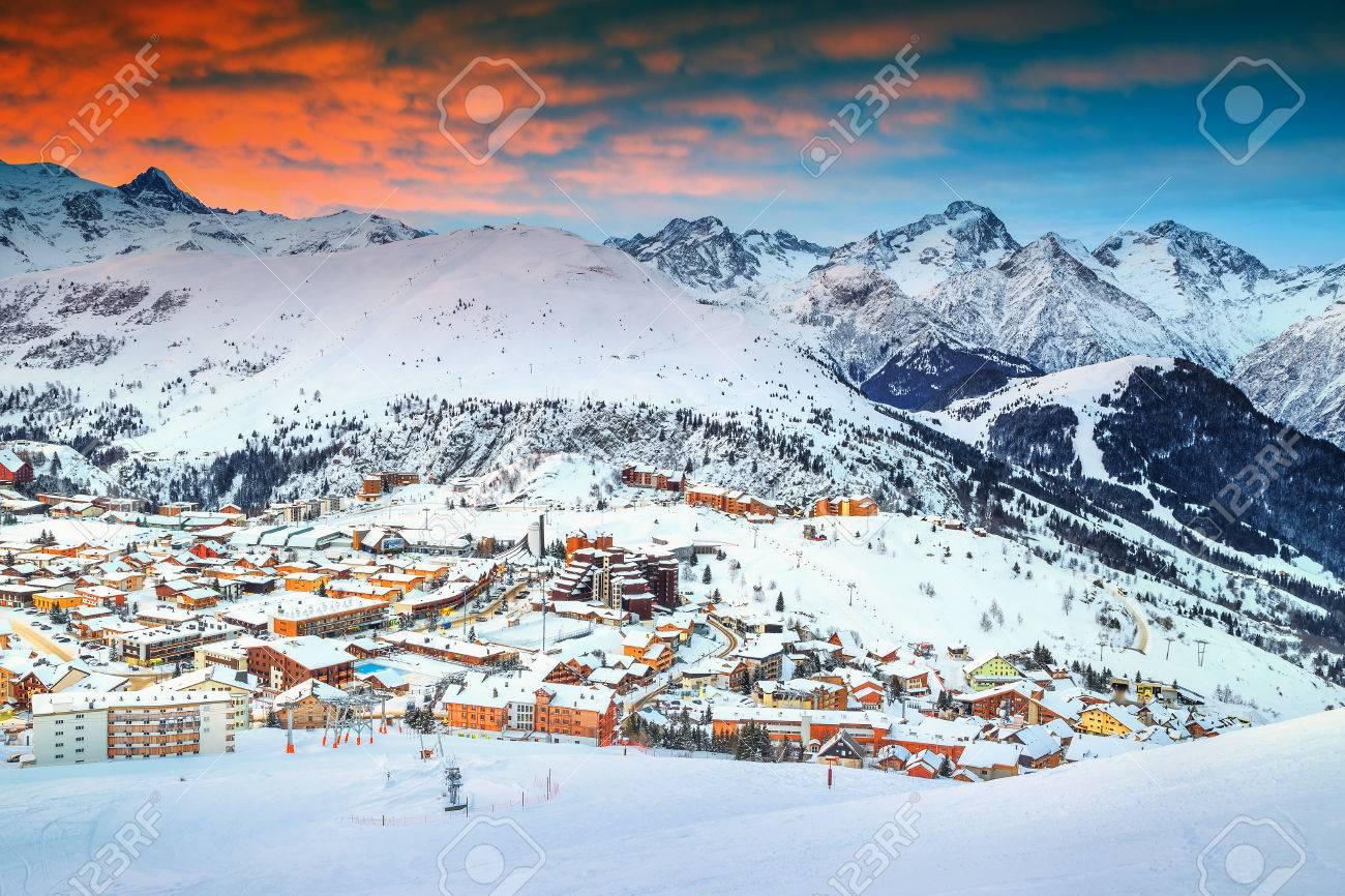 amazing winter sunrise landscape and famous ski resort in french