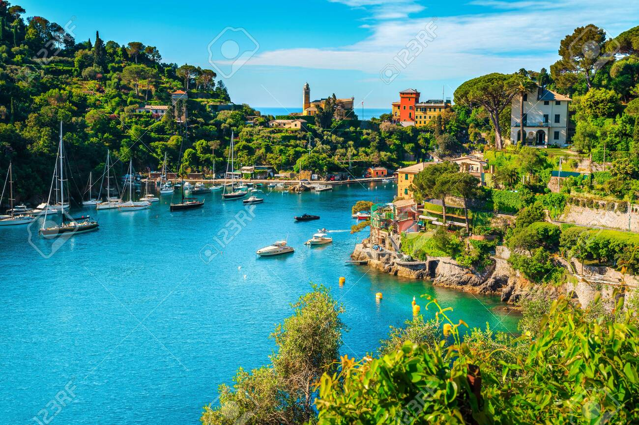 Wonderful bay with colorful mediterranean buildings and boats, yachts in spectacular vacation resort, Portofino, Liguria, Italy, Europe - 123660795