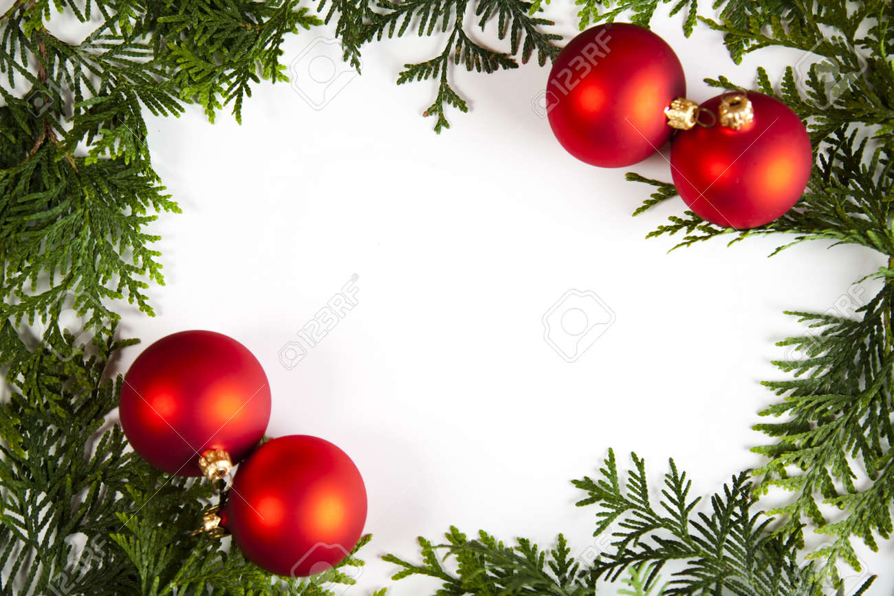 Christmas tree picture frame ornaments - Christmas Frame Stock Photo 5418855