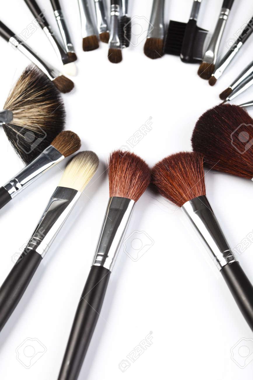 Set of cosmetic brushes on white background Stock Photo - 5930605