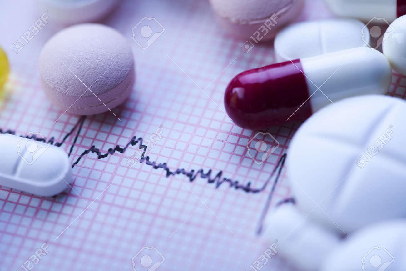 Ekg, drugs, medicines, tablets, pills