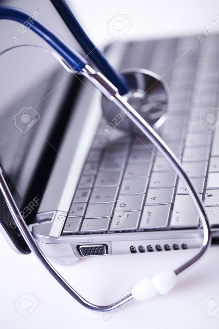 Computer and  Stethoscope Stock Photo - 8564512