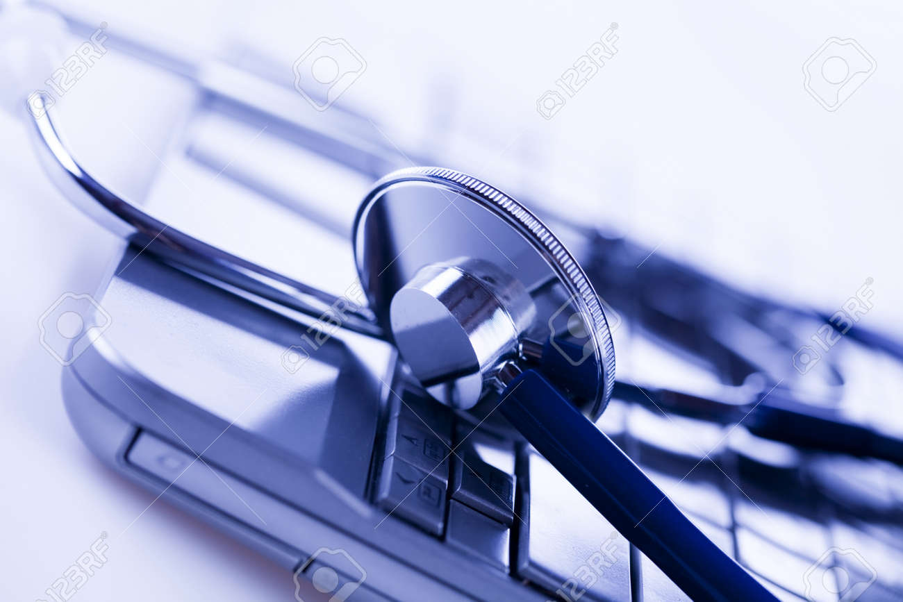Laptop, notebook and Stethoscope Stock Photo - 8564567