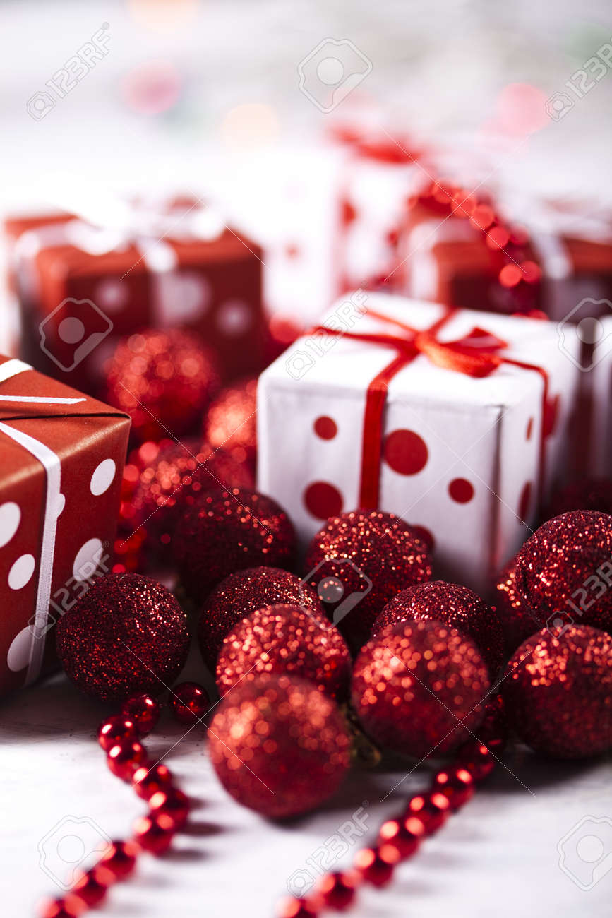 Christmas Balls and gift Stock Photo - 10830247
