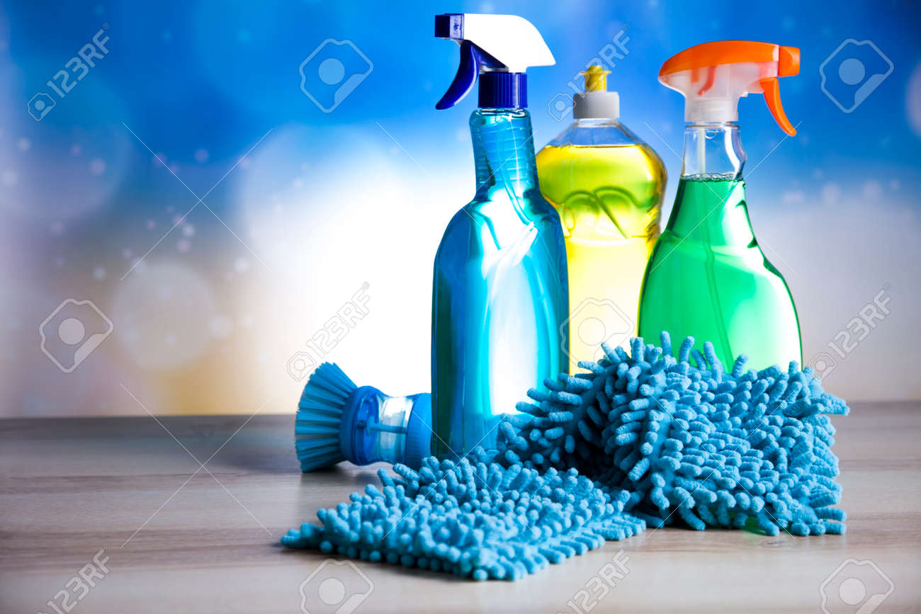 Variety of cleaning products,home work - 39106488