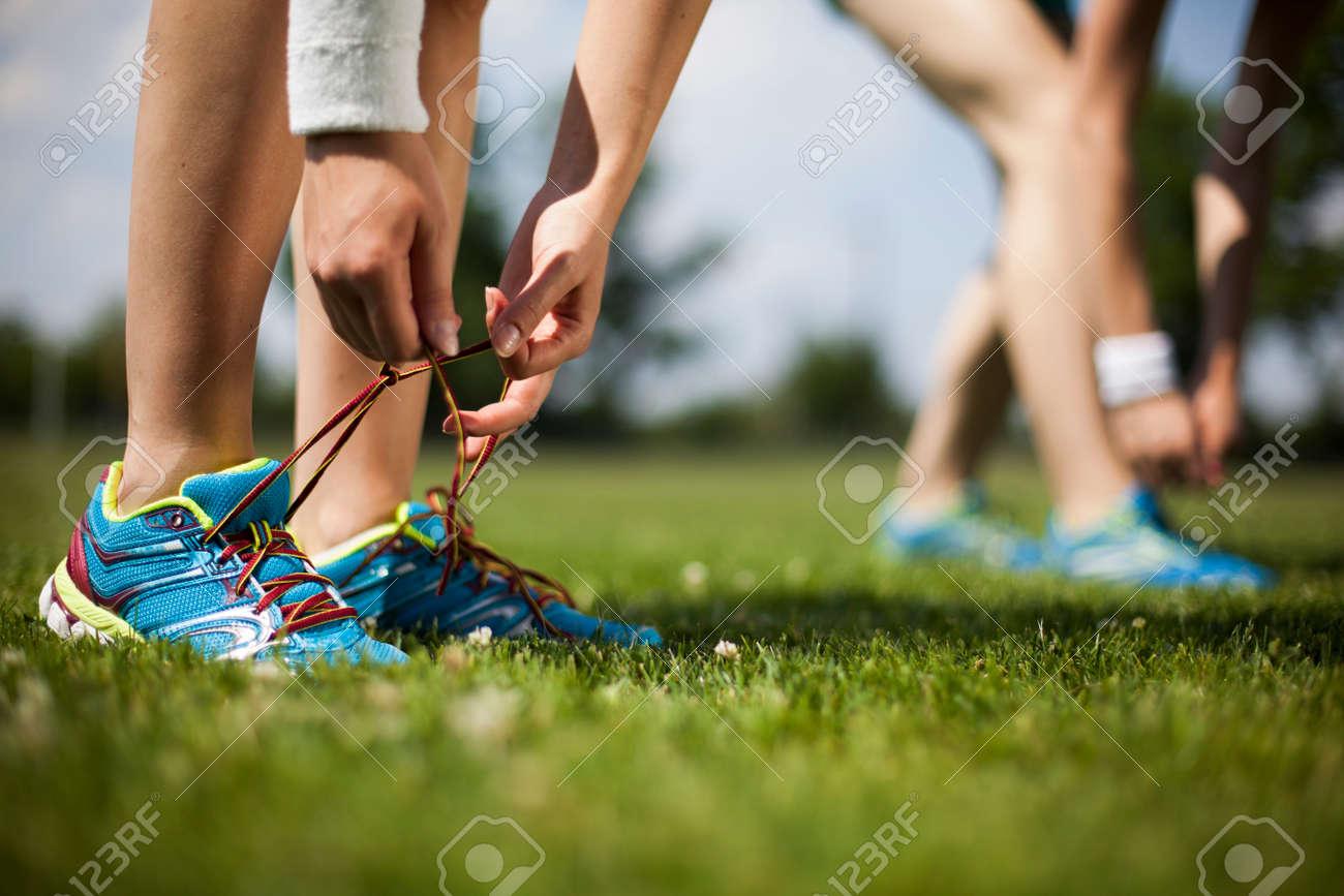 Woman fitness, Runner feet running - 45133982
