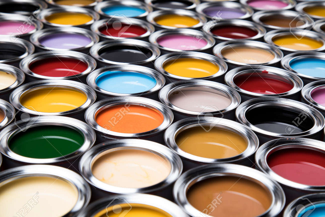 Open buckets with a paint, colors background - 134611719