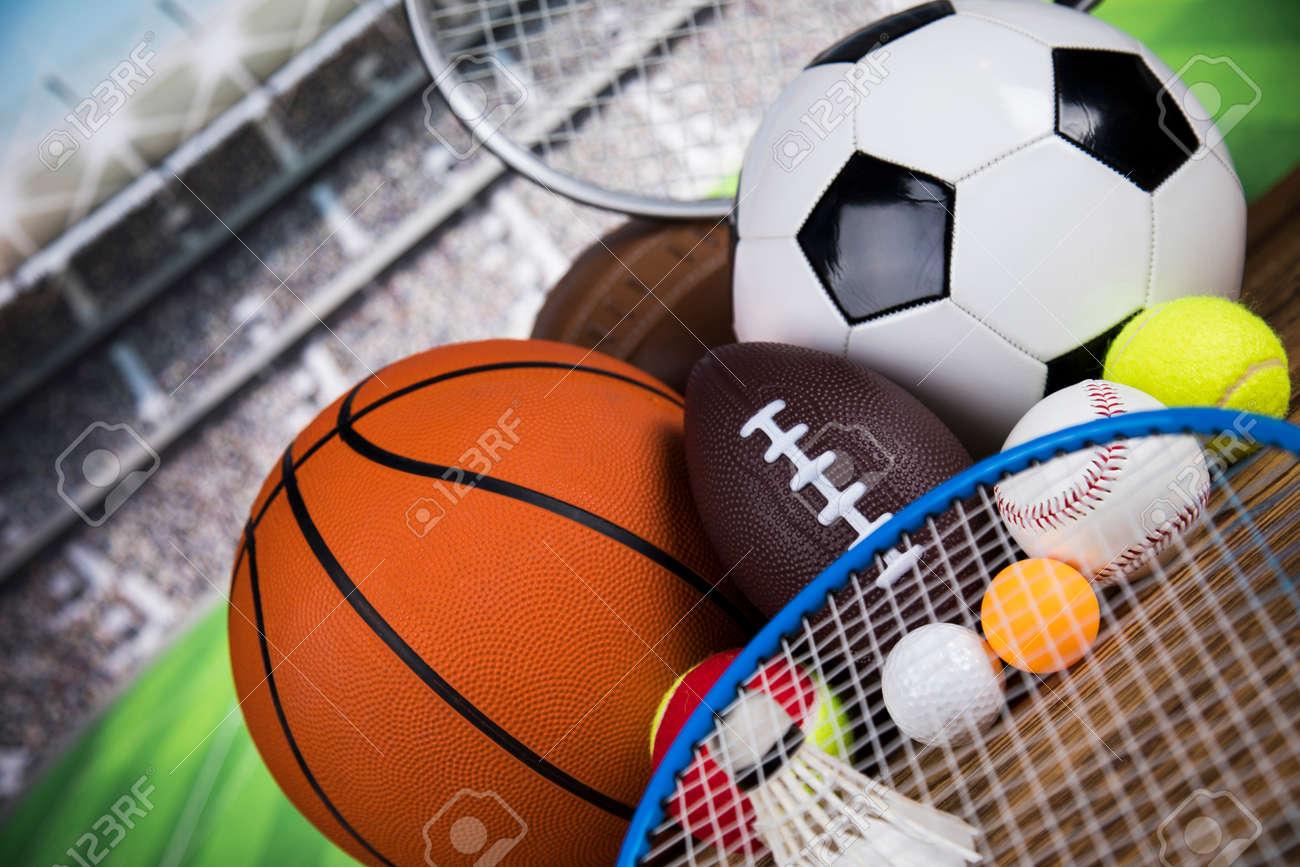Assorted sports equipment, Winner background - 135102592