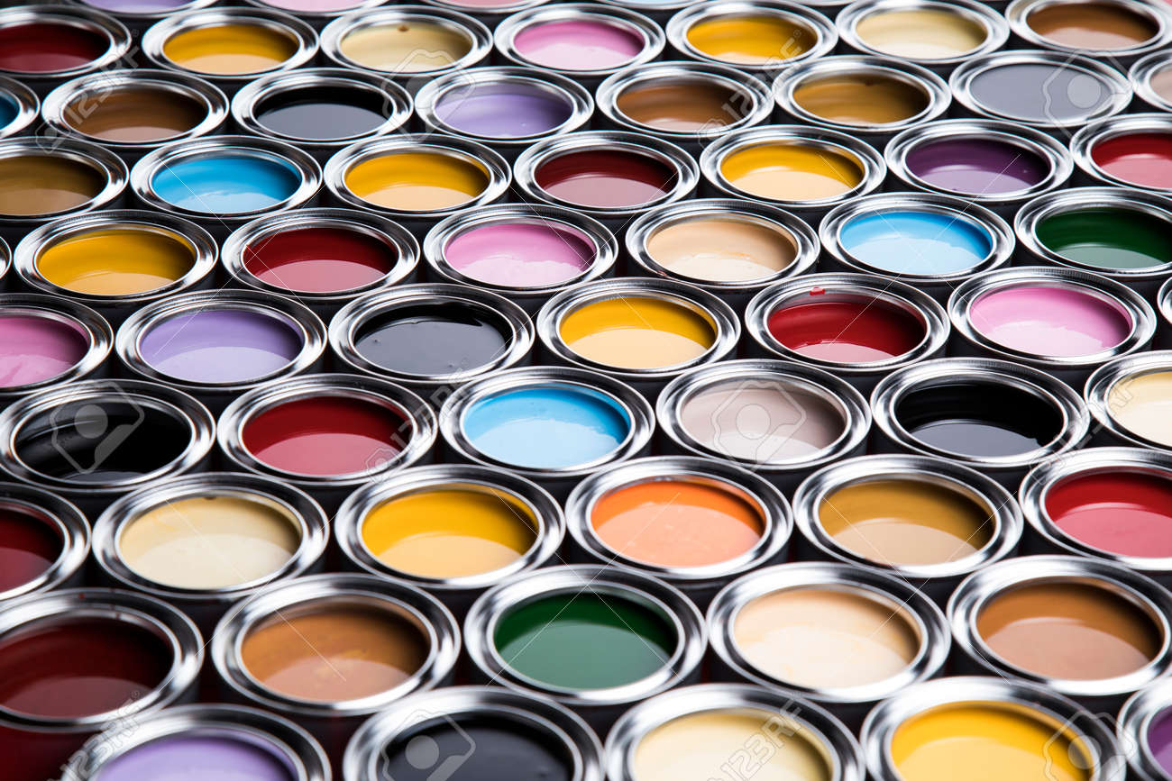 Colorful paint cans set, Painting background - 134572117