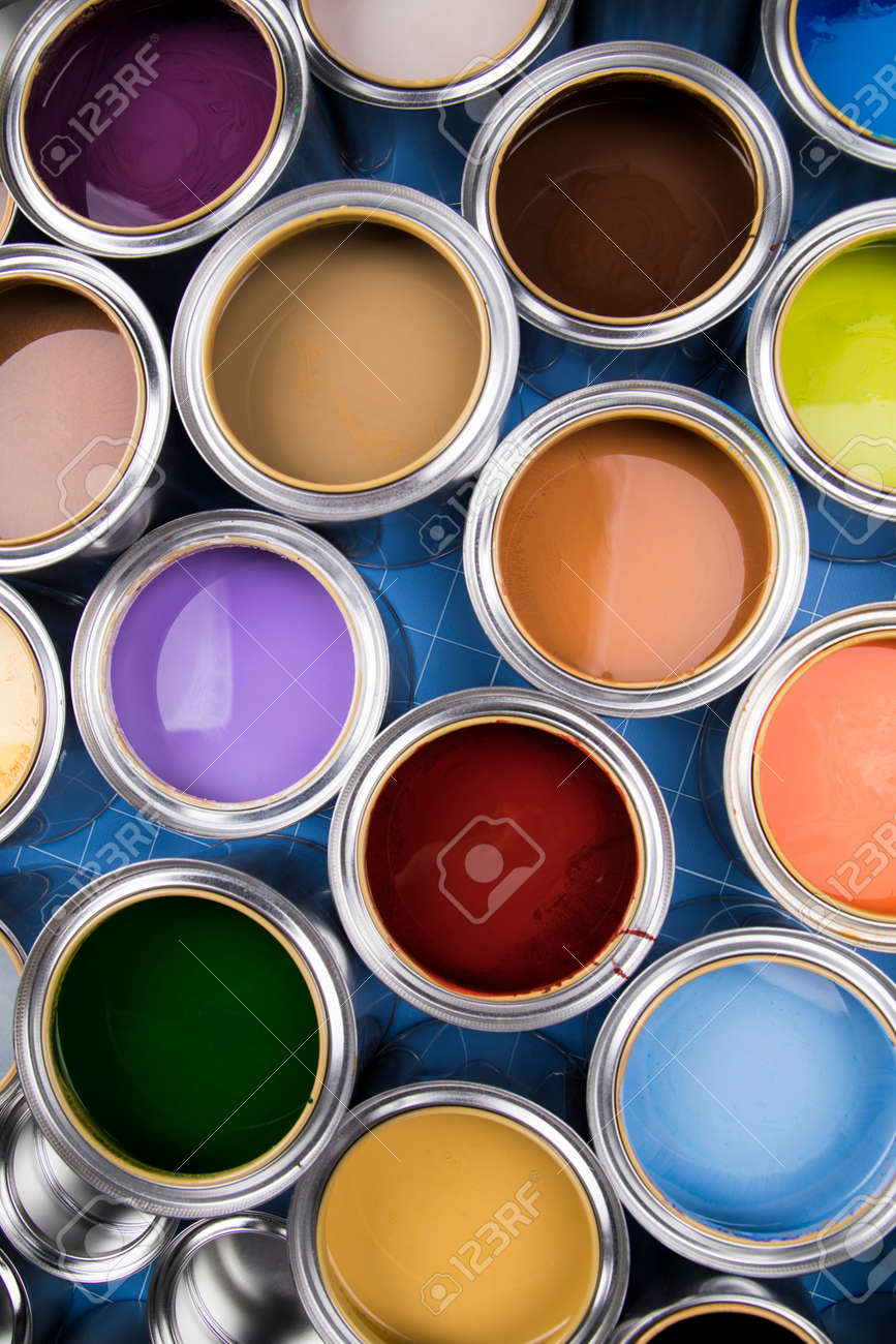 Tin metal cans, Painting background - 169081201