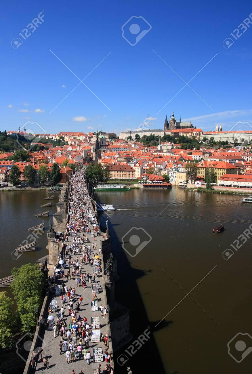 View on the Prague castle over Charles bridge, Czech republic Stock Photo - 1534580