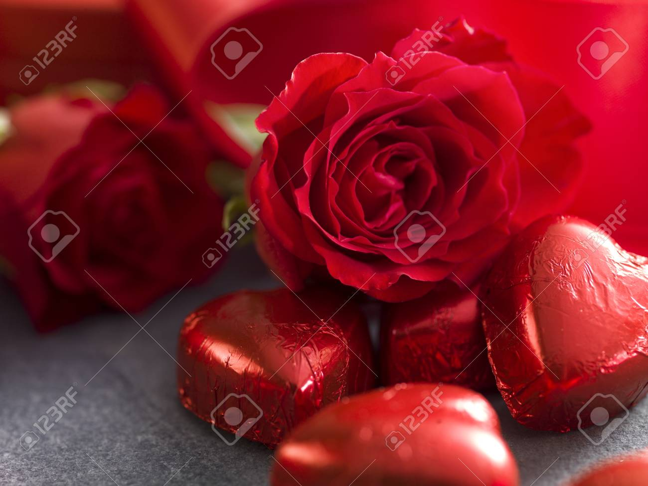 Valentines Day Background Close Up From Chocolate Hearts And