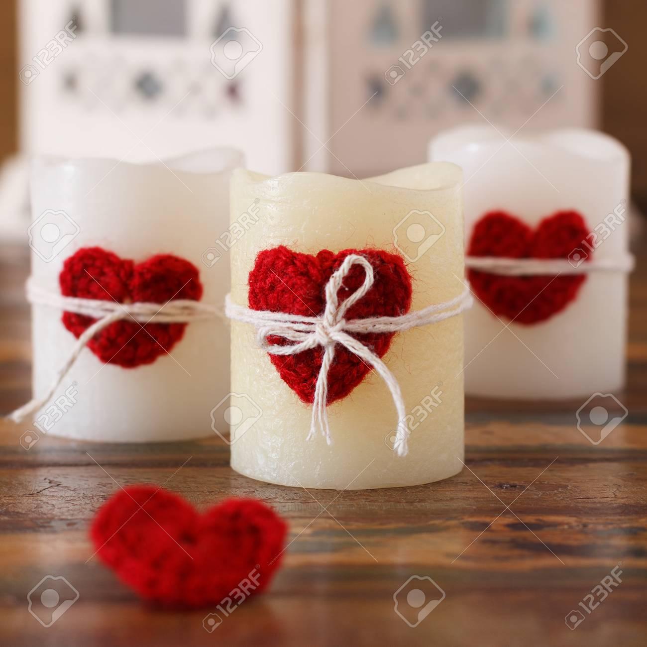 Red Häkeln Handmade Herzen Für Kerze Für St. Valentinstag ...