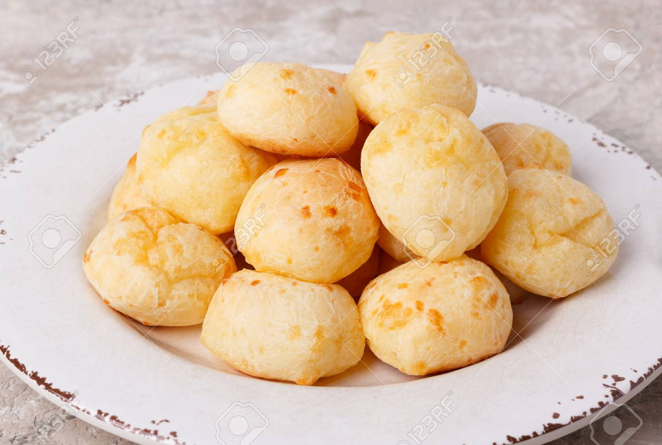 Brazilian Snack Cheese Bread Pao De Queijo On Plate On Marble
