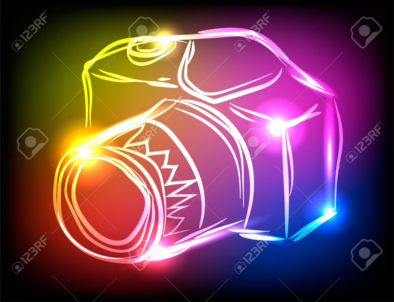 Colorful Photo Camera With Neon Lights On Black Background Stock Vector    61576971