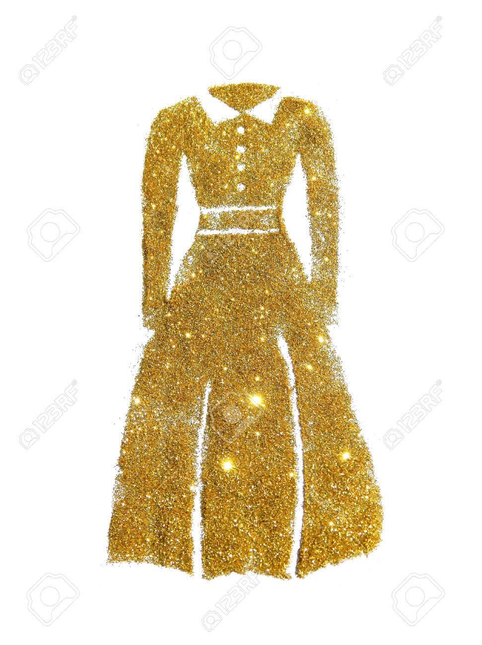 a3cf89c9d86ec Banque d images - Robe à manches longues avec col de paillettes dorées sur  fond blanc
