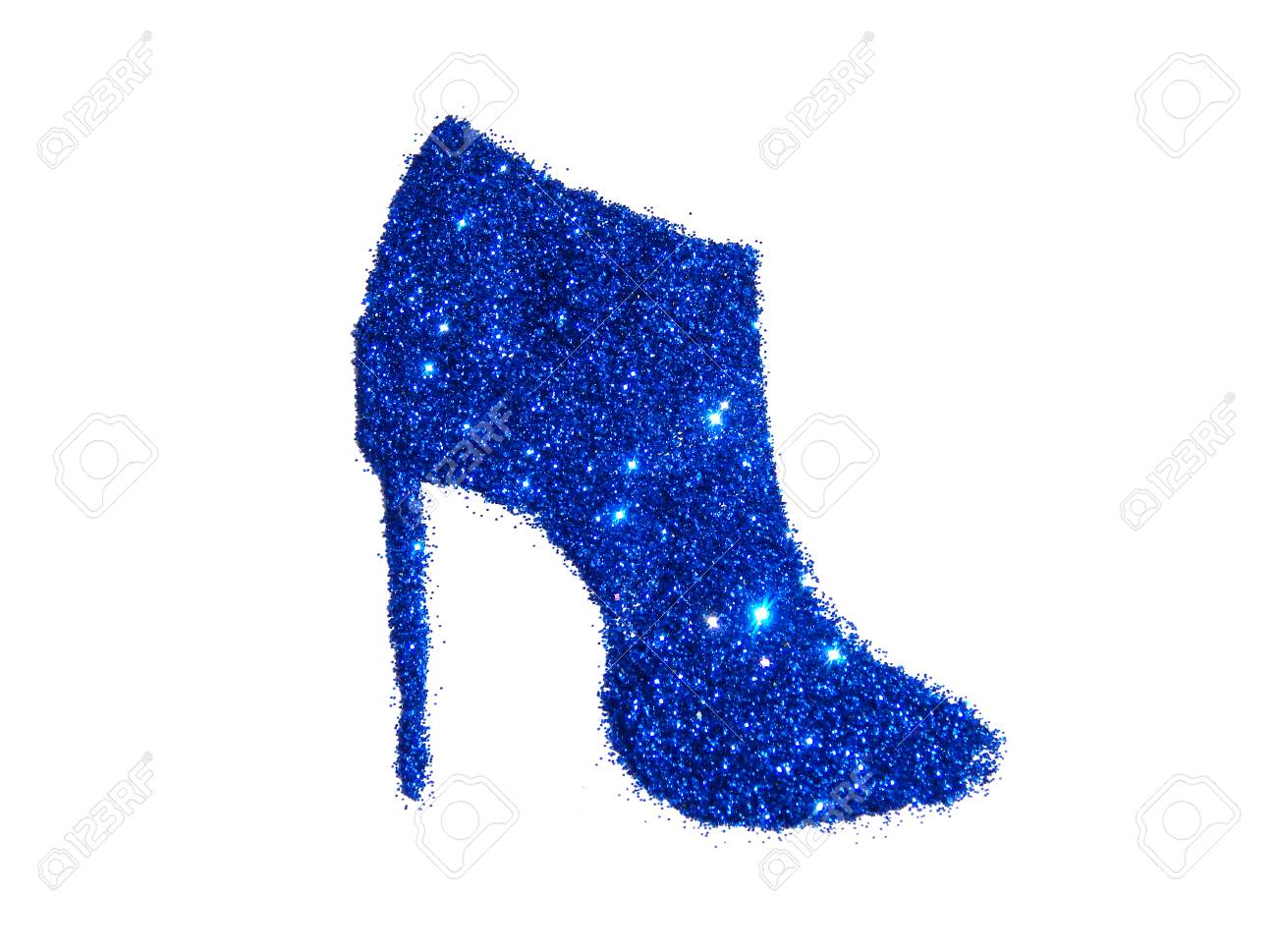 Ankle Boot On High Heel Of Blue Glitter