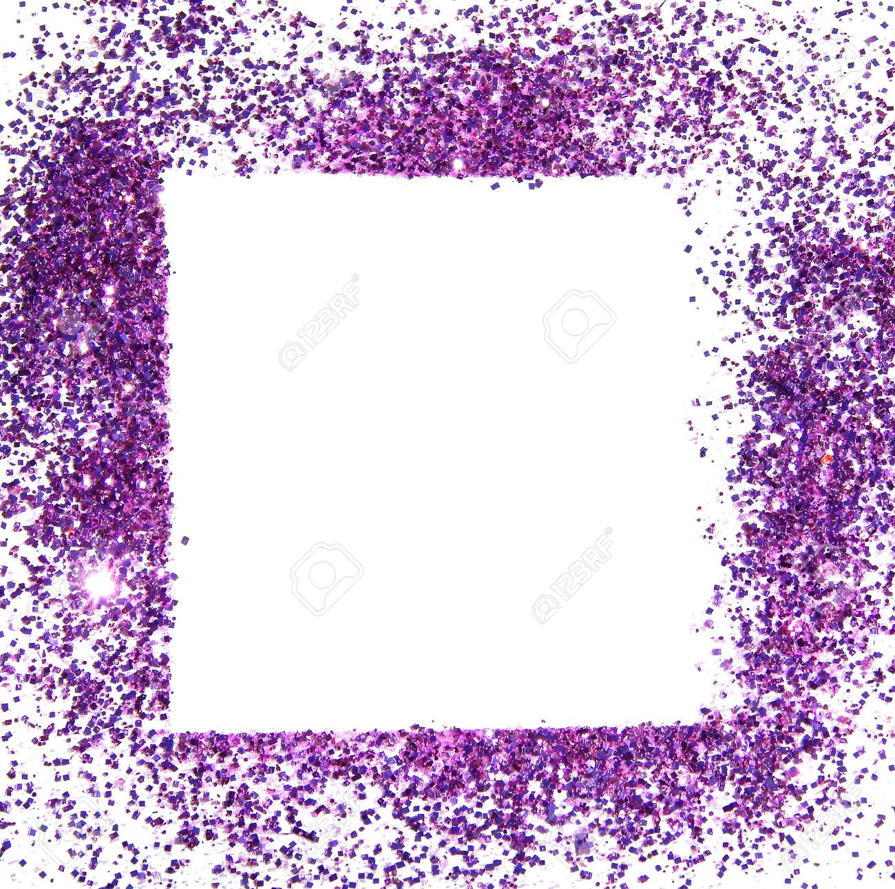 Frame Of Purple Glitter Sparkle On White Background, Can Be Used ...