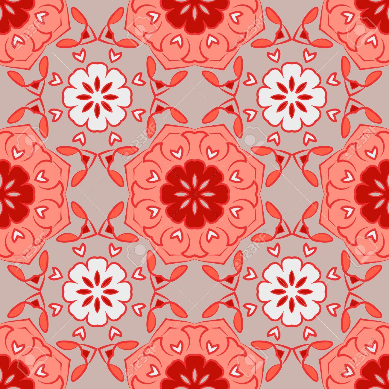 Sin Patrón Con Mandalas Hermosas En Colores Rojo Gris Y Blanco