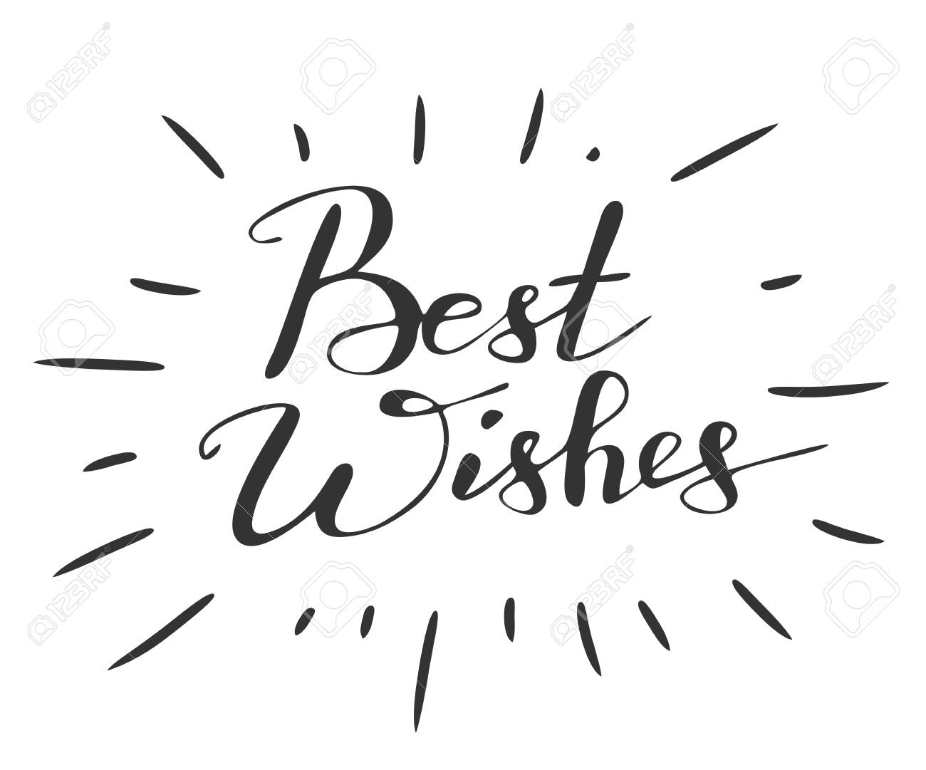 Handwriting Words Best Wishes On White Background. Calligraphy ...