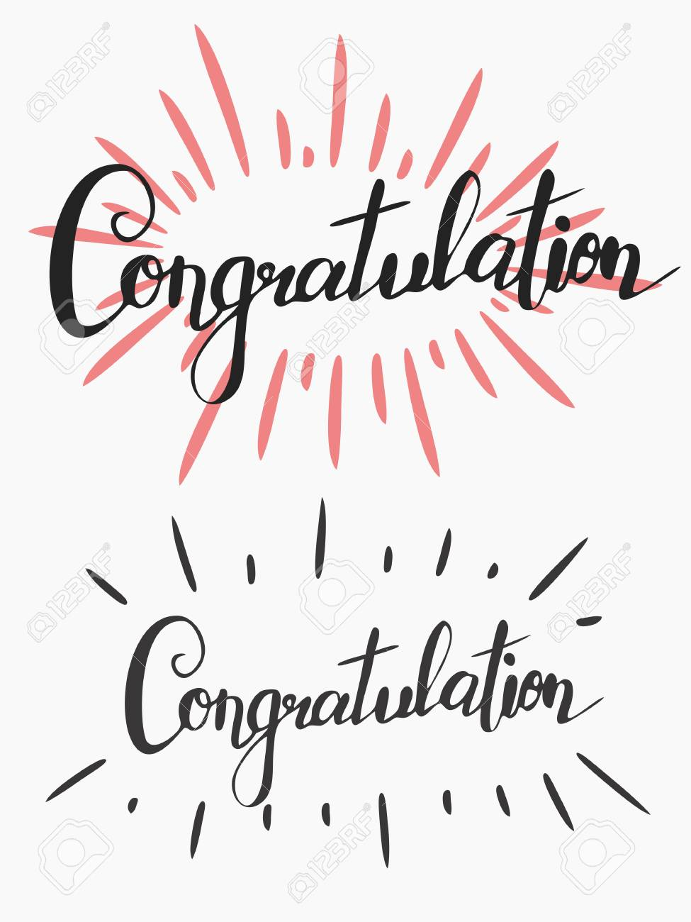 handwriting words congratulation in two versions calligraphy