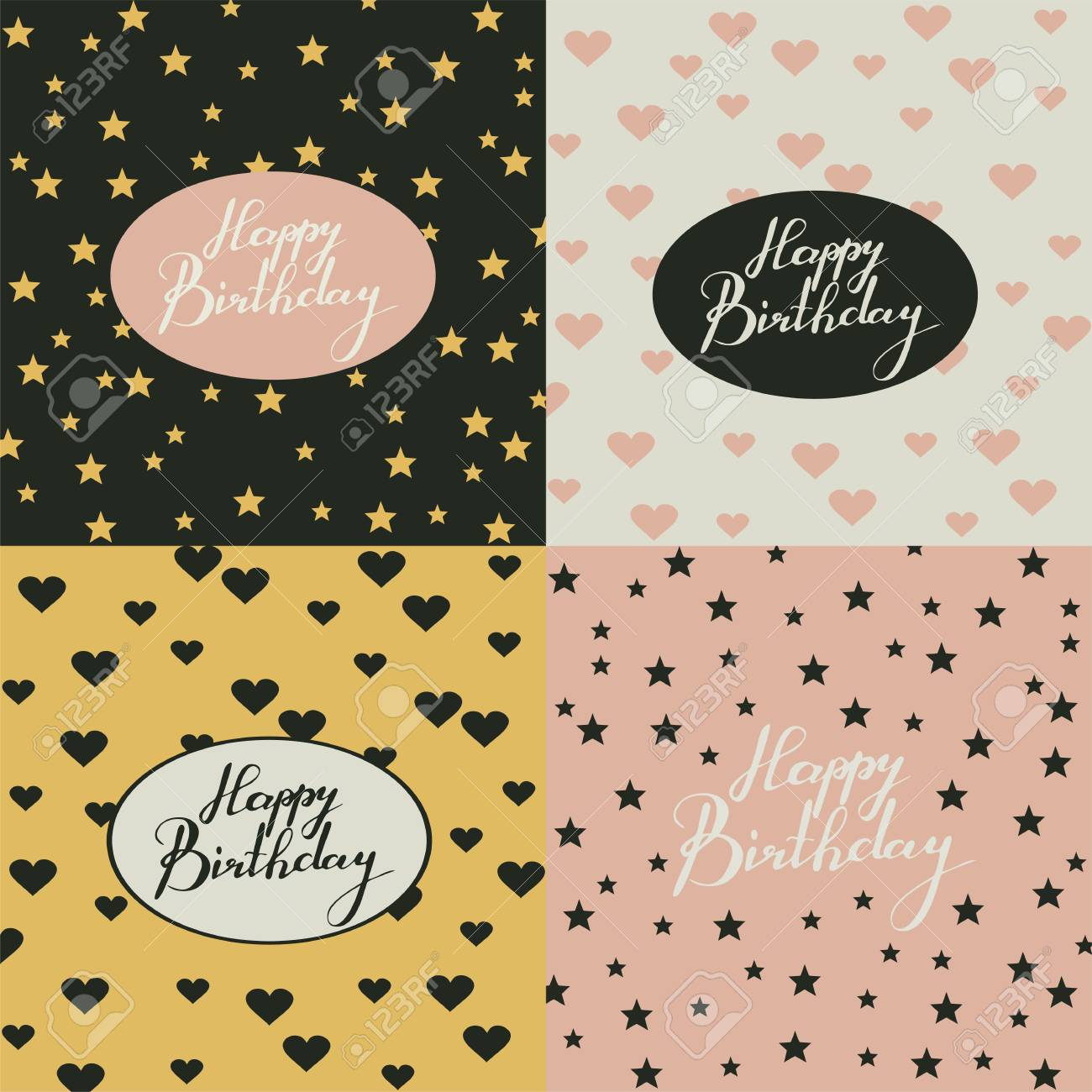 Four greeting cards with handwriting words happy birthday in four greeting cards with handwriting words happy birthday in vintage colors calligraphy lettering stock m4hsunfo