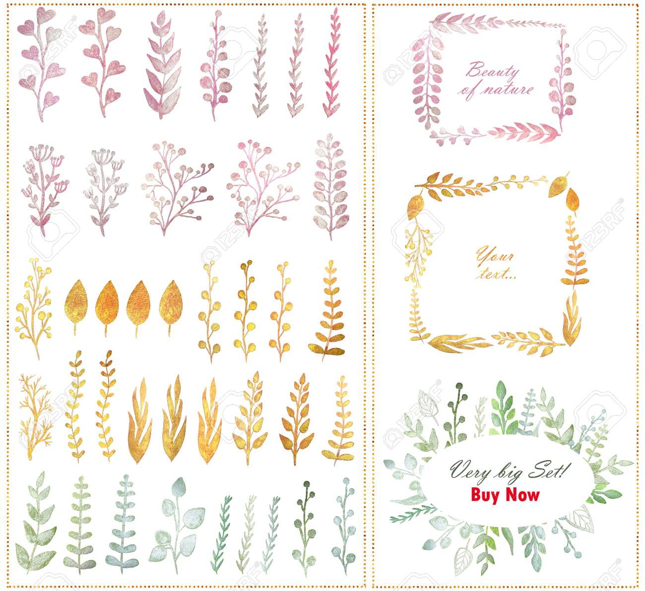 Big Set With Beautiful Pearl Watercolor Flowers, Twigs, Leaves ...