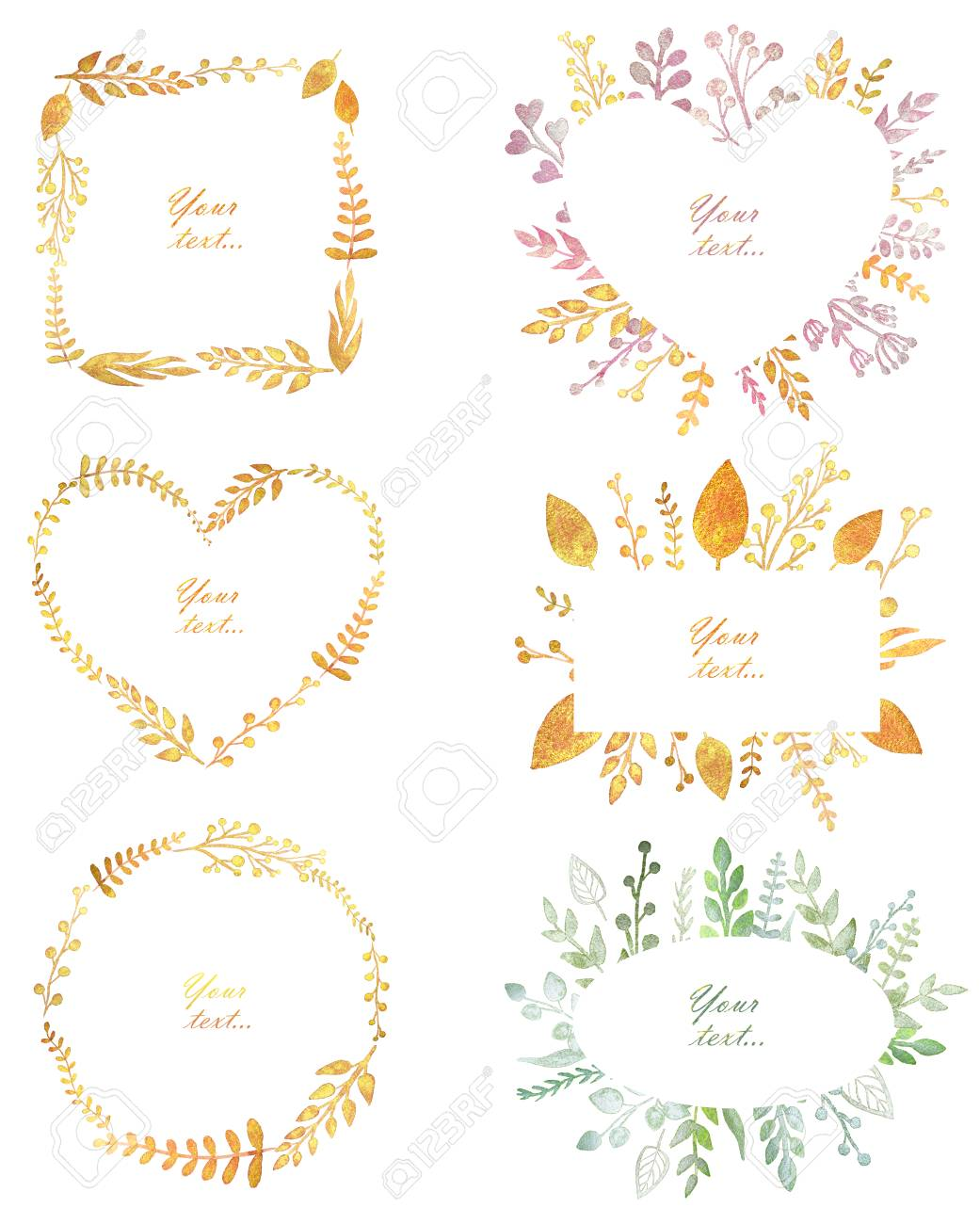 Set With Beautiful Frames With Pearl Watercolor Leaves, Cute.. Stock ...