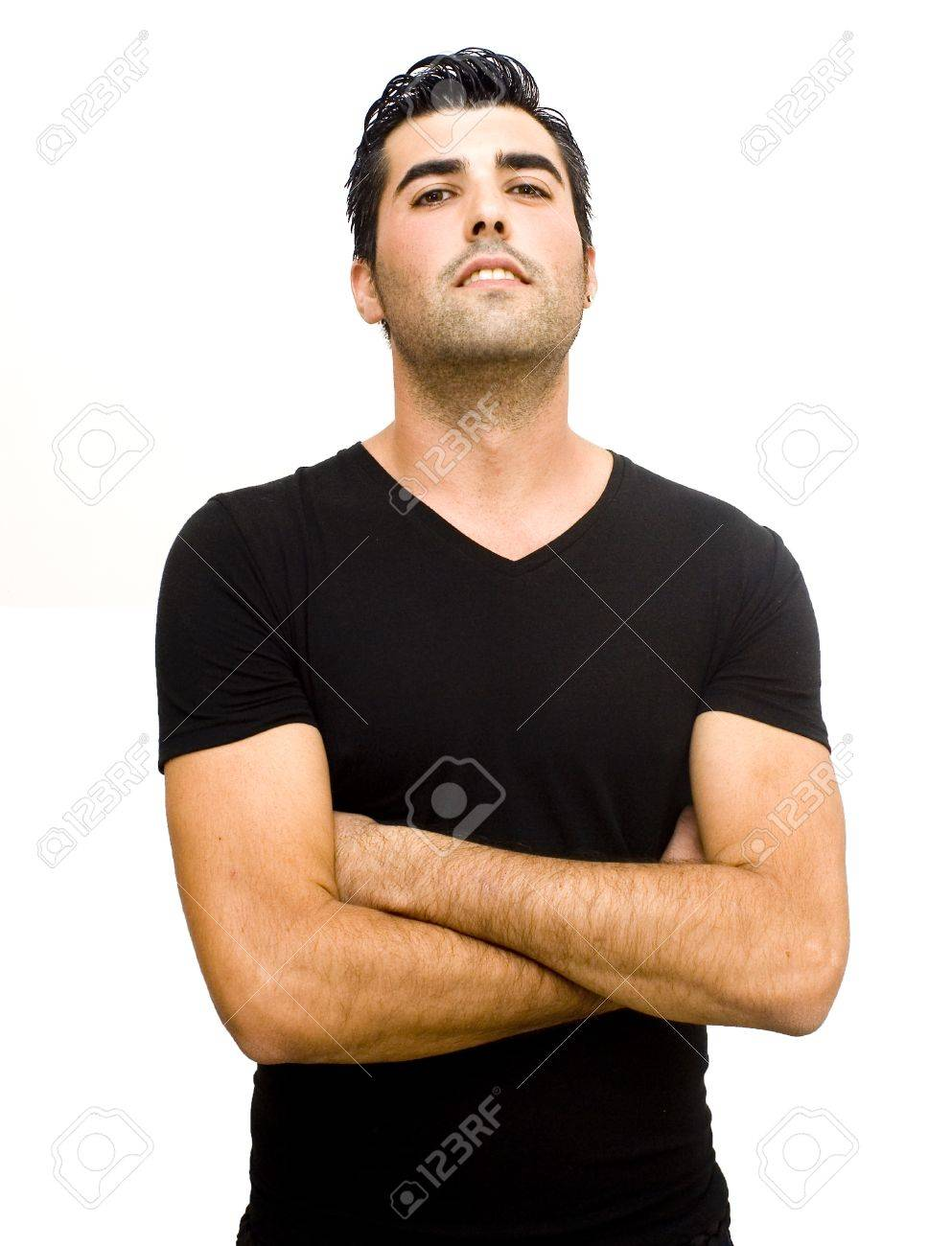 Handsome Guy With Black Shirt With Arms Crossed Over His Chest ...