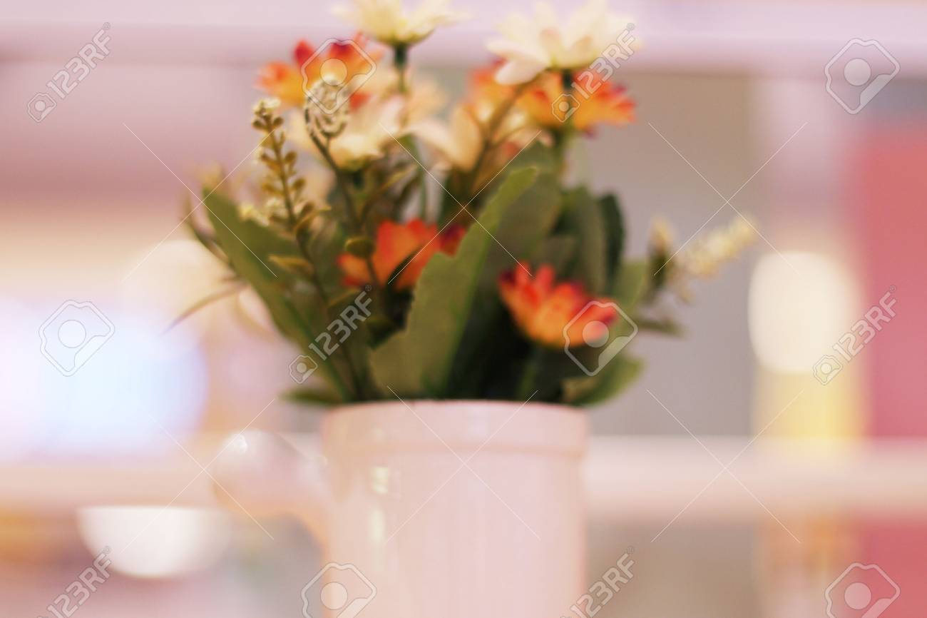 Fake Flowers In A White Vase Stock Photo Picture And Royalty Free
