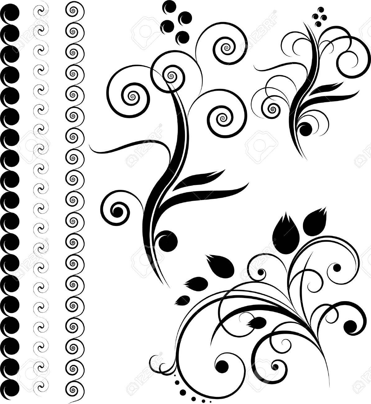 Borders Floral Design Elements Isolated On The White Royalty