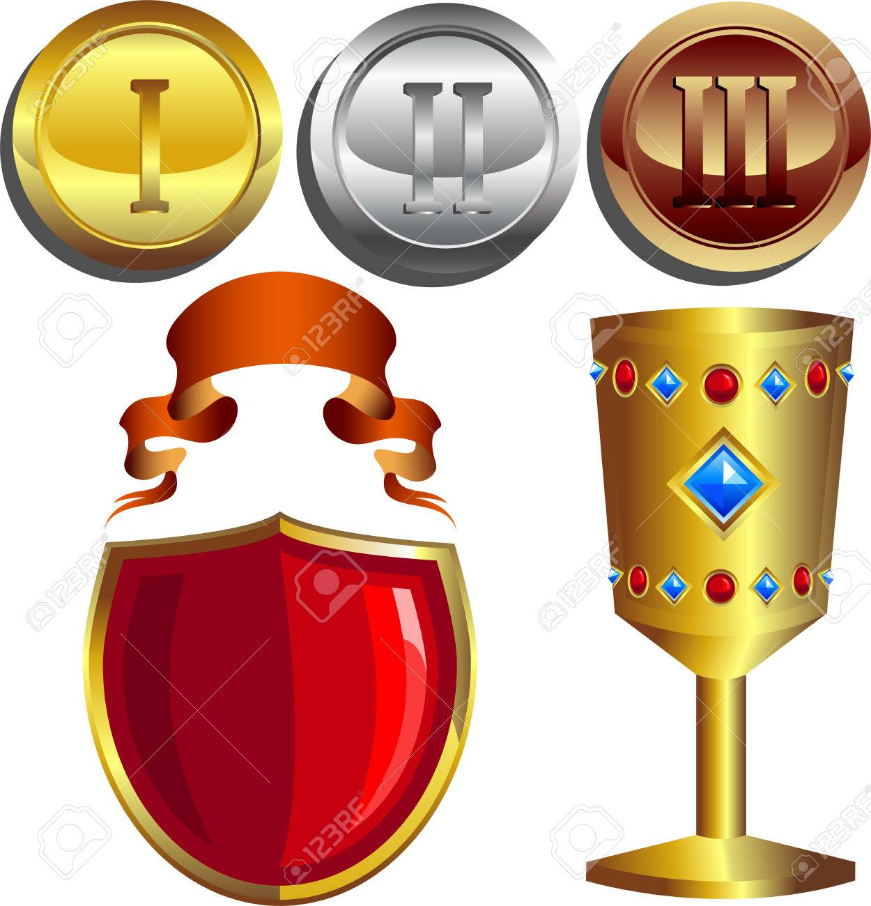 Rewards, gold, silver and bronze medals, cup, shield and banner
