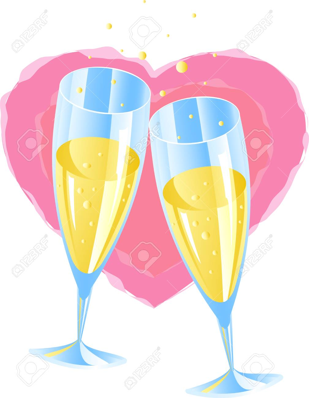 Two glasses of champagne, heart, 8 format Stock Vector - 4315458
