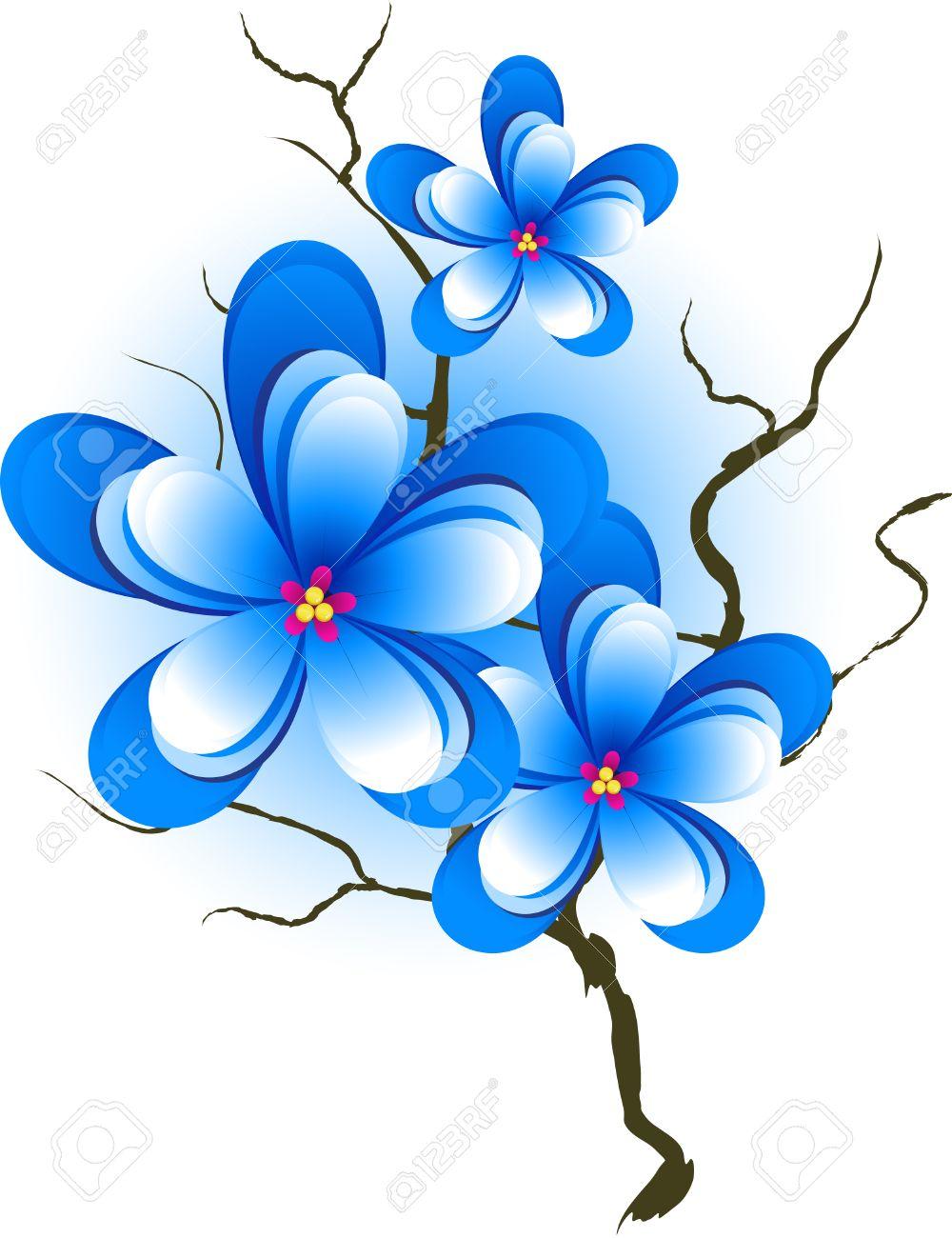 <<<Poemas de colores...>>> - Página 2 4315489-Elemento-de-dise-o-floral-rama-con-flores-azules-Foto-de-archivo