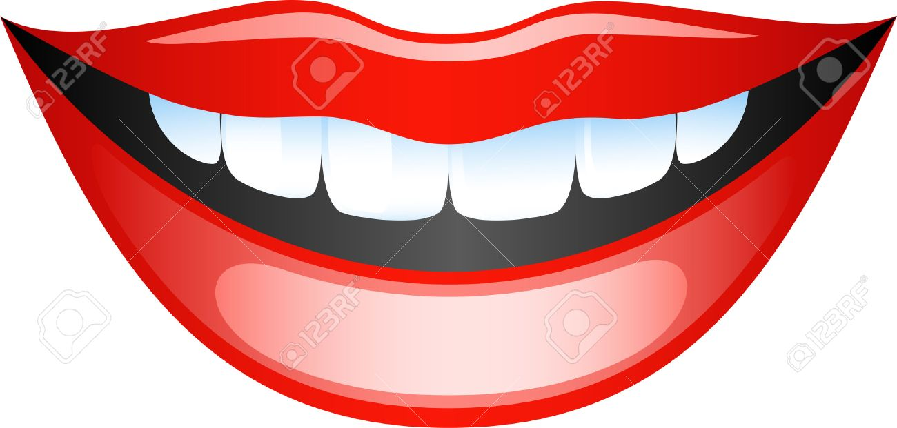 Vector image smiling female lips. Isolated on white Stock Vector - 5316931
