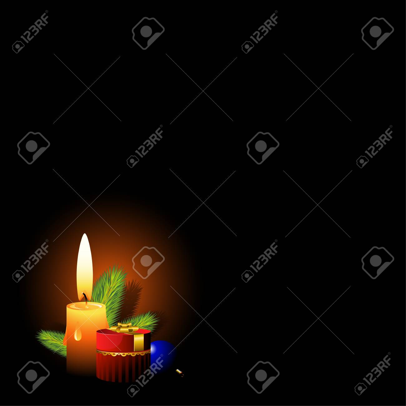 Background with elements of a Christmas design: a branch of pine, balloons and gift boxes illuminated by candles. EPS 8 Stock Vector - 5798929