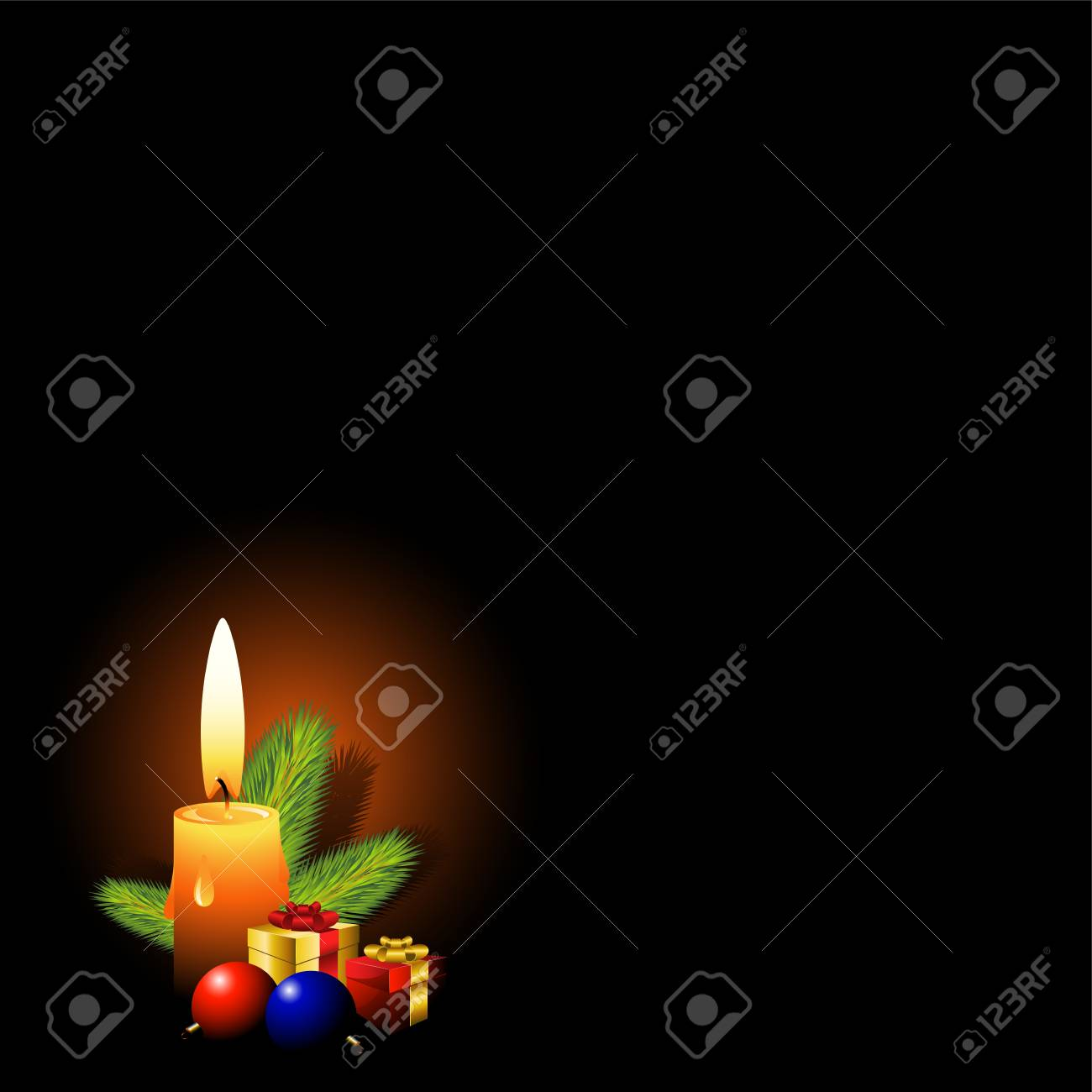 Background with elements of a Christmas design: a branch of pine, balloons and gift boxes illuminated by candles. EPS 8 Stock Vector - 5798931