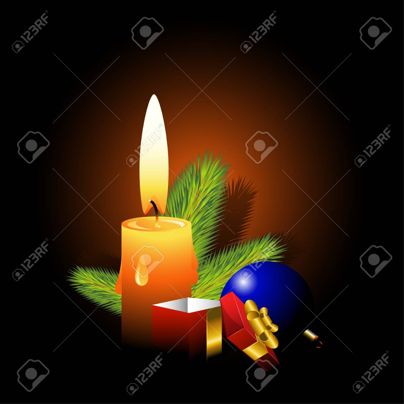 Christmas design element: a branch of pine, balloons and gift box illuminated by candles. EPS 8 Stock Vector - 5798930