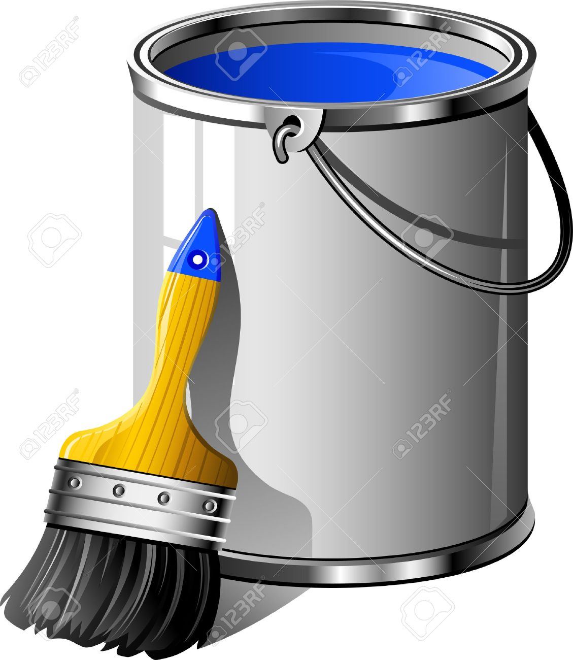 Bucket of paint and paintbrush. Over white. EPS8 Stock Vector - 7938104