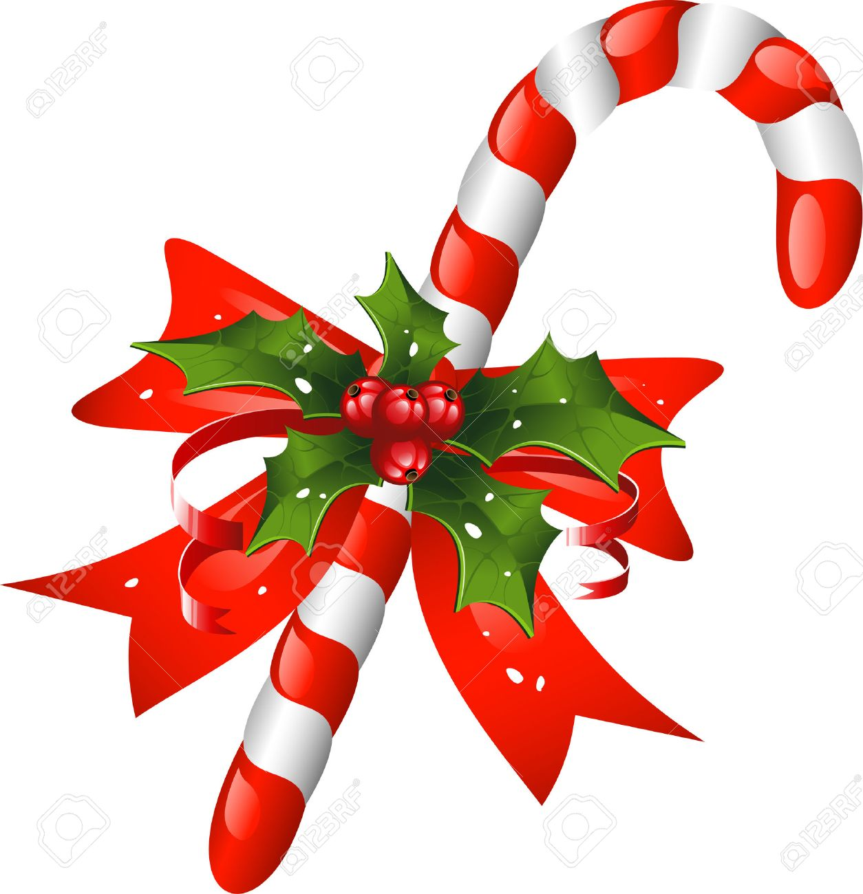 Christmas Candy Cane.Christmas Candy Cane Decorated With A Bow And Holly Over White