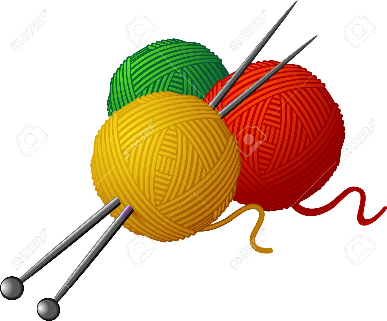 Skeins of wool and knitting needles isolated over white. - 8153716