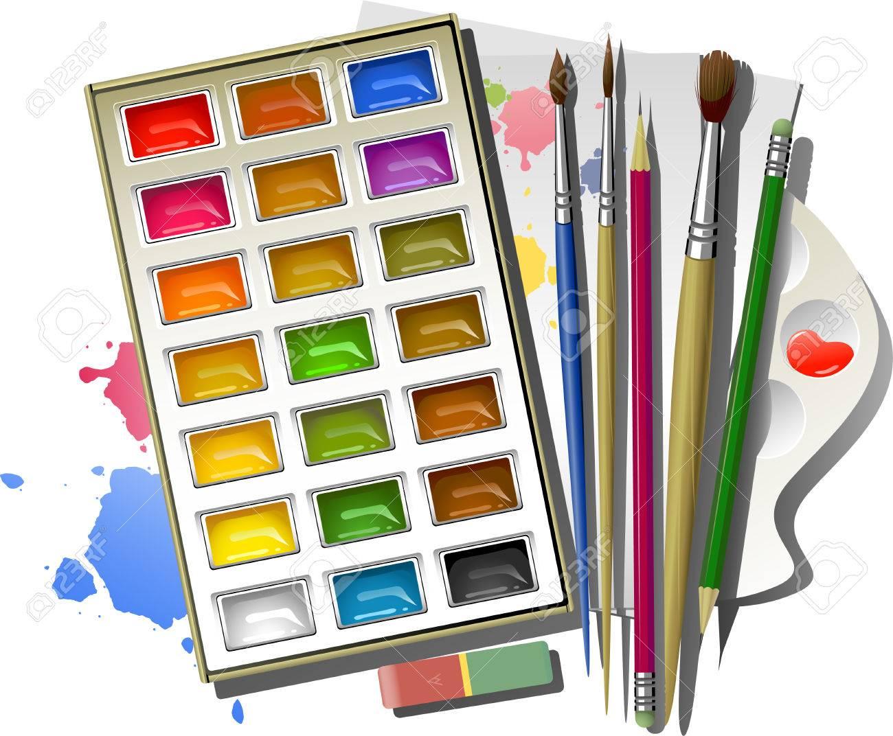 art supplies watercolor paints brushes pencils eraser palette paper