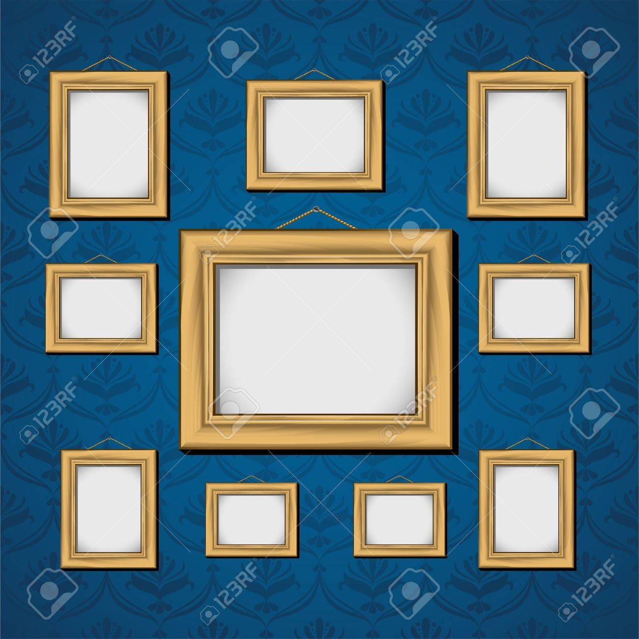 Picture frames on blue wall royalty free cliparts vectors and picture frames on blue wall stock vector 9842291 jeuxipadfo Choice Image
